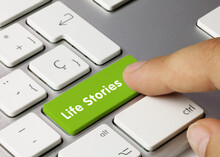 Life Stories - Inscription On Green Keyboard Key.