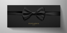 Premium VIP Invitation Template With With Black Tie (bow Butterfly) On Background. Luxury Design For Event Invite, Formal Reception, Gift Certificate, Voucher Or Gift Card
