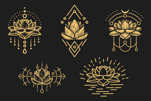 Set Of Hand Drawn Golden Lotus Flower With Sacred Geometry Elements. Modern Art Composition For Design Prints, Covers, Tattoo. Vector Illustration.