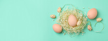Easter Eggs In Nest On Mint Background