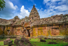 Back Of Phanom Rung Historical Park Is Castle Rock Old Architecture At Buriram Province ,famous Attractions Landmark , Thailand