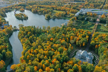 Aerial View Of The Catherine Park With A Large Pond In Tsarskoe Selo. Pushkin. Catherine Palace. Hermitage Pavilion. Russia, Pushkin, 09.09.2020