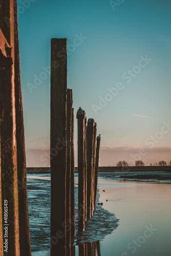 Small empty harbor near Emden in Germany Fototapeta