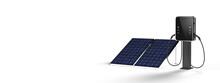 Solarpanel Neben Elektroladestation Für Elektroautos, Wallbox Mit Photovoltaikanlage
