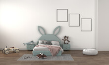 3D Rendering Illustration Of A Modern Minimalist Kids Bedroom - Empty Frames For Your Pictures