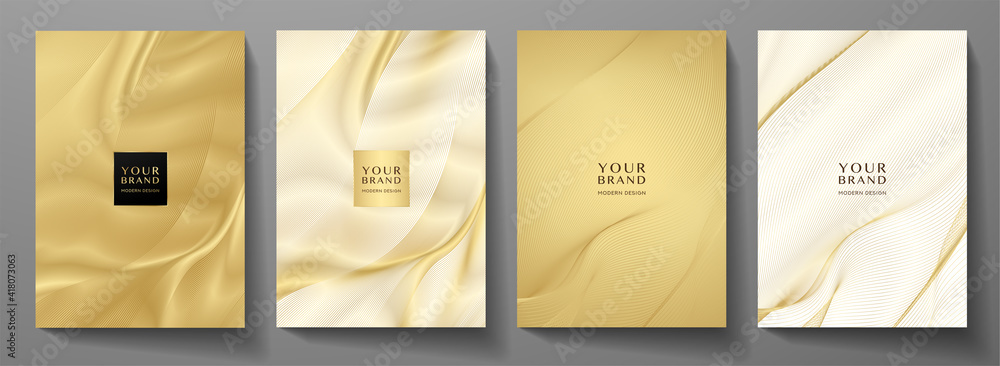 Obraz Modern cover design set. Gold abstract line pattern (guilloche curves) in premium gold color. Luxury golden stripe vector layout for business background, certificate, brochure template fototapeta, plakat