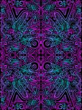 Vintage Psychedelic Tryppi Colorful Fractal Pattern. Gradient Neon Violet Blue Outline, Black Color Background.