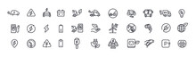 EV Electric Vehicle Line Icon Set. Electricity Car Editable Stroke Outline Sign Collection.