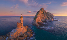 Aerial View Of The Aniva Lighthouse. Sakhalin Island, Russia.