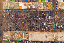Aerial View Of People Working And Trading At Rahman Fish Market Along Karnaphuli River, Chittagong, Bangladesh.