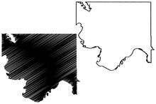 Jefferson County, Oklahoma State (U.S. County, United States Of America, USA, U.S., US) Map Vector Illustration, Scribble Sketch Jefferson Map