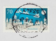 Briefmarke Stamp Gestempelt Used Frankiert Cancel Vintage Retro Post Letter Mail Brief Weihnachten Christmas Xmas Blau Weiss White Blue Schlitten Sleigh Scherenschnitt Silhouette Cutting Papier Paper