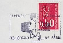 Briefmarke Stamp Gestempelt Used Frankiert Cancel Vintage Retro Post Letter Mail Brief Slogan Frankreich France French Nurse Krankenschwester Krankenhaus Hospital Paris Frau Woman Kopf Head 50