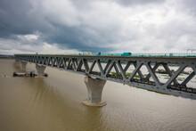 Aerial View Of A Construction Site On Padma Bridge Crossing Padma River Near Zajira Township, Dhaka Province, Bangladesh.