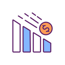 Devaluation RGB Color Icon. Country Currency Value Lowering. Economic Crisis. Recession. Exchange Rate. Stock Market Crash. Monetary Unit Downward Adjustment. Isolated Vector Illustration