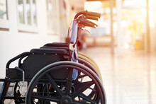Wheelchair, A Chair With Wheels For Disability People And Hospital Illness Injury Patient Care.