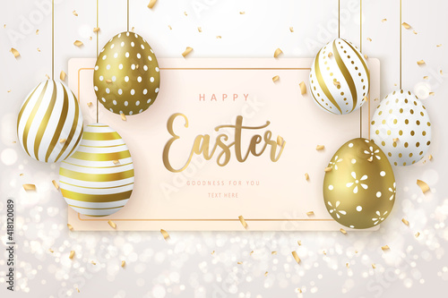 Obraz Happy Easter banner template with golden luxury Easter eggs tag card - fototapety do salonu