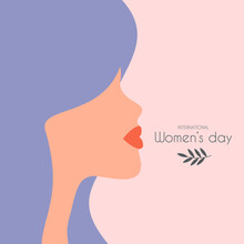 Happy Women's Day Greeting Poster Card. Vector Illustration