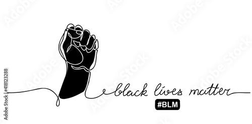 Slika na platnu Black lives matter vector poster, banner with fist