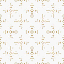 Golden Vector Seamless Pattern With Small Rhombuses, Tiny Squares, Arrows. Abstract Gold And White Geometric Ornament Texture. Simple Minimal Background. Tribal Ethnic Motif. Luxury Repeat Design