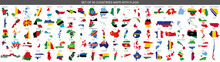 Big Set Of 95 Countries Maps With Flags On White Background