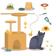 Vector Illustration On The Theme Of Domestic Cats. British Grey Cat Along With A Cat House, Food And Toys For The Cats Who Live In The House.