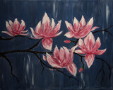 Pink magnolia blossoms on a twig in spring against a blue background.Acrylic painting. Spring magnolia flower in full bloom. Hand painted image.