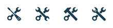 Vector Set Of Work Tools Icons On Background