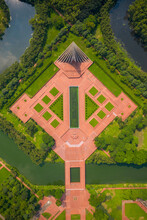 Aerial View Of A Striking Modern Monument Remembering The Independence Day In Savar, Dhaka Province, Bangladesh.