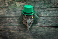 Saint Patrick's Day, Angry Leprechaun Mask On Wooden Table