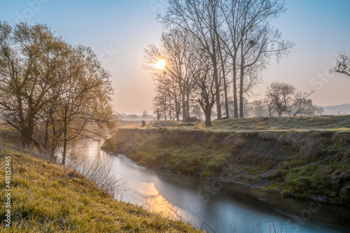 River in colorful atmospheric sunlight mood in the morning