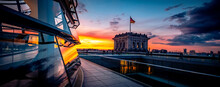 Panoramic View Of Reichstag Building At Sunset