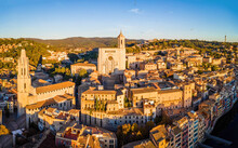 Aerial View Of Girona, A City In Spain's Northeastern Catalonia Region