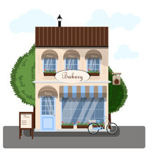 Bakery Exterior Vector Illustration. Flat Design Of Facade. Cafe Building Concept. Light Brown Two-story Restaurant In The European Style. Illustration Of A City Street. A Striped Awning, A Display