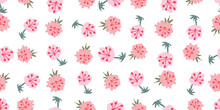 Pink Flowers Seamless Vector Pattern On White. Surface Print Design For Gifly Fabrics, Stationery, Scrapbook Paper, Mothers Day Gift Wrap, Backgrounds, Textiles, Home Decor, And Packaging.