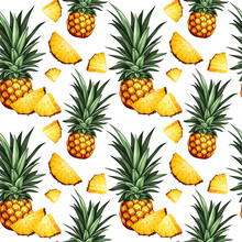 Pineapple Seamless Pattern. Design With Hand Drawn Illustration Of Pineapple With Leaves And Pineapple Slices