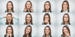 Set of beautiful woman showing several different facial emotions or expressions and gestures isolated on gray background. Collage of human emotions
