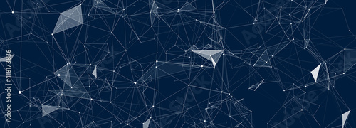 Abstract digital background of points, lines and triangles. Glowing plexus. Big data. Network or connection. Abstract technology science background. 3d vector illustration.