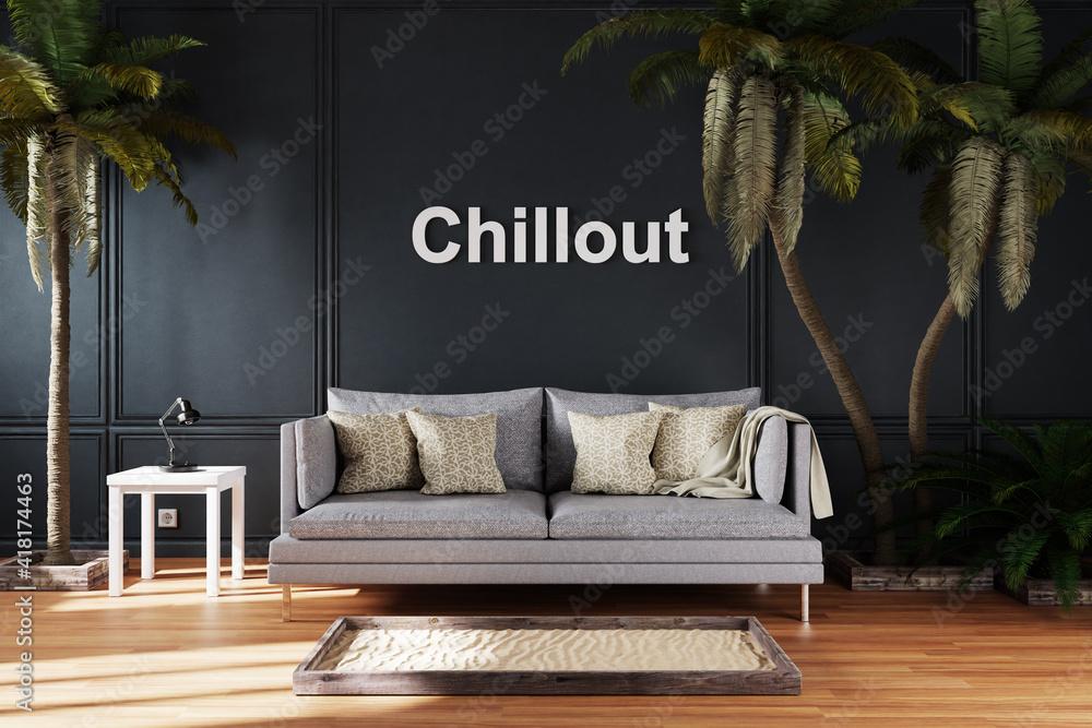Fototapeta elegant living room interior with single vintage sofa between large palm trees; chillout home lettering; 3D Illustration