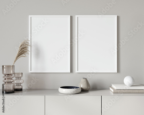 Tablou Canvas Interior Mockup with two white frames against the background …