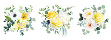 Yellow Rose, Hydrangea, White Peony, Tulip, Anemone, Spring Garden Flowers