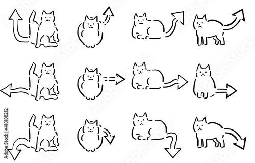 Fototapeta Arrow Tail Cat Drawing Set
