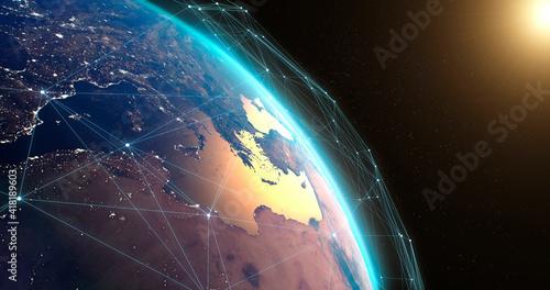 Vászonkép Satellite network over planet Earth