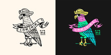 Pirate Parrot With Ribbon Logo. Jolly Roger Or Corsair. Marine And Nautical Or Sea, Ocean Emblem For Sticker Or T-shirt. Engraved Hand Drawn, Old Label Or Badge.