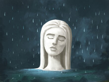 Illustration Of A Statue With A Woman's Face Standing In The Water And Crying In The Rain. Suffering, Pain Of Loneliness, Grief, Psychological Problems