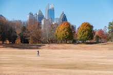 Midtown Skyline From Piedmont Park In Autumn In The Afternoon.