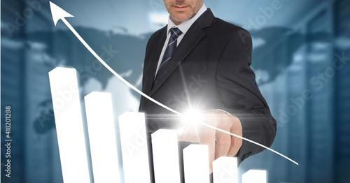 Arrow with statistics over man using interactive digital screen