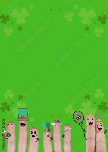 Multiple fingers decorated with st patrick's themed pictograms and clovers on green background
