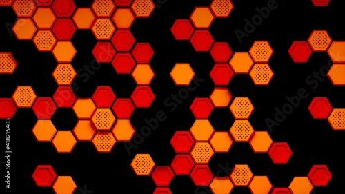 Fotografie, Obraz Abstract black red orange hexagonal background