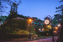 Beautiful View At Night In Park In Tokyo With Ghibli Museum, Lights, Watch And Sky, Japan